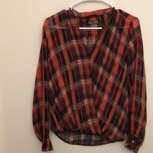 Plaid Red Blouse